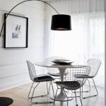 11-lampadar negru picior curbat iluminat loc de luat masa mdoern minimalist