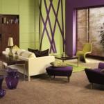 11-living modern amenajat in verde cu violet si mici accente negre