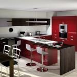 11-moderna bucatarie rosu alb si maro