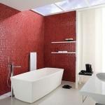 11-mozaic culoare rosie perete accent baie moderna decor alb