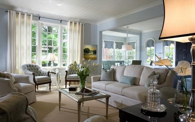 11-perdele crem tesatura opaca decor living clasic alb si bleu