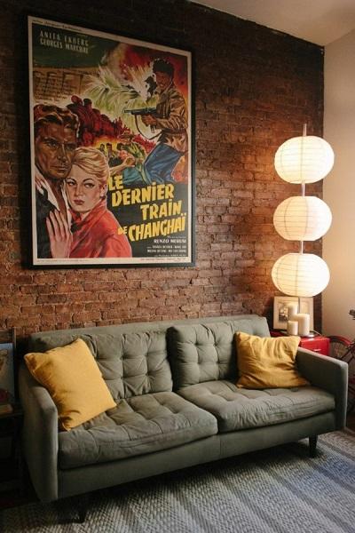 11-perete din caramida aparent decor living amenajat in stil pop art