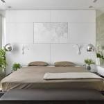 11-peretele de la capul patului din dormitor placat cu panouri decorative din piele naturala