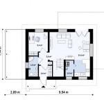 11-plan parter casa proiect casa mica 99 mp