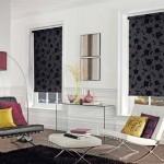 11-rolete textile culoare neagra imprimeu floral decor ferestre living modern