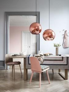 11-roz quartz si corpuri de iluminat din cupru decor in tendinte actuale