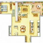 11-schita plan apartament doua camere modern stil modern minimalist accente clasice