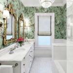 12-baie eleganta finisata cu tapet decorativ cu imprimeu cu flori si pasari