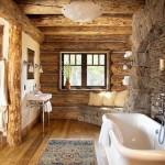 12-baie rustica mare decorata cu piatra naturala de rau si lemn masiv