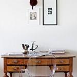 12-birou din lemn vintage integrat in decor modern