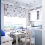 12-bucatarie mica amenajata si decorata in alb si bleu