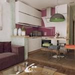 12-bucatarie pe podium amenajare open space living mic apartament