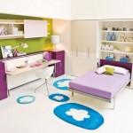 12-camera tineret pentru doua fete cu doua paturi rabatabile integrate in mobilier