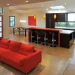 12-canapea rosie cu picioare de inox decor living modern open space