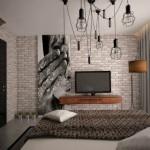 12-caramida aparenta in amenajarea unui dormitor masculin in stil loft