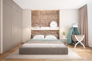12-decor cu caramida aparenta pe peretelede la capul patului din dormitor