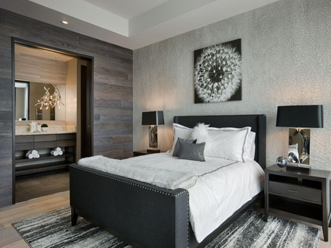 12-dormitor modern elegant cu peretii decorati cu doua tipuri de tapet