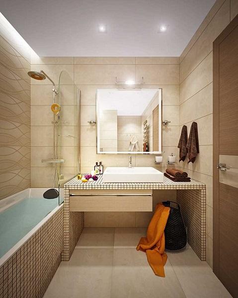 12-exemplu amenajare baie moderna finisata cu gresie faianta si mozaic bej