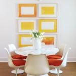 12-exemplu mini galerie arta din tablouri in alb si galben
