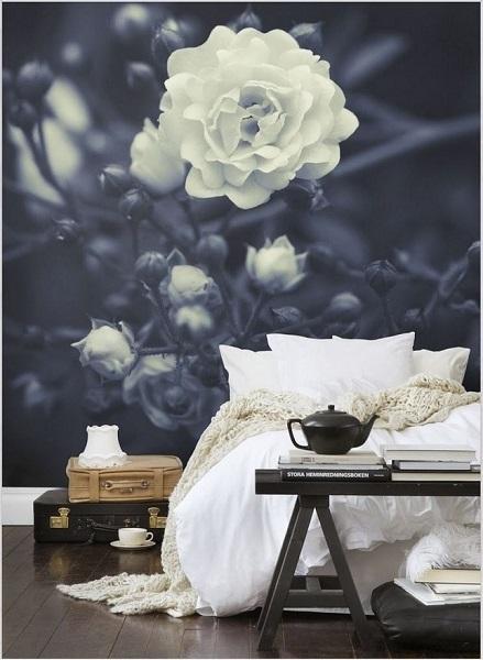 12-fototapet trandafir alb imagine alb negru decor perete dormitor