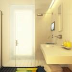 12-interior baie moderna minimalista cu perete din sticla mata alba in interiorul cabinei de dus