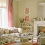 12-living elegant decorat in alb verde pal si cu mici accente roz