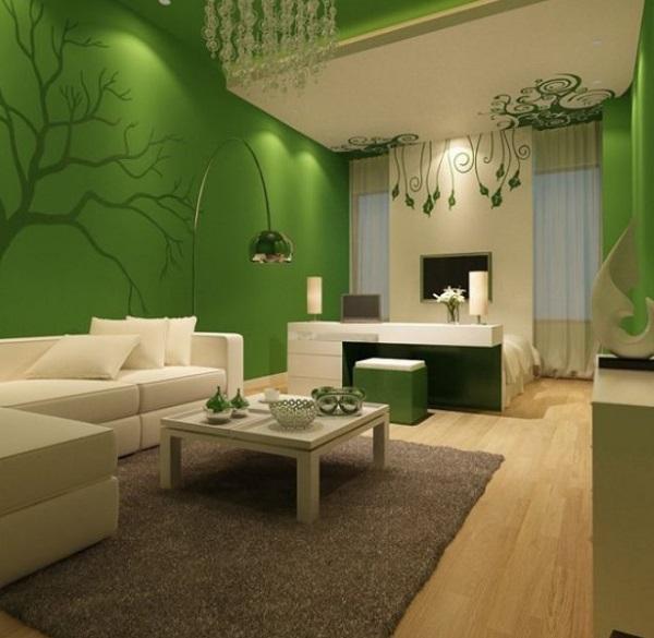 12-living modern amenajat si decorat in verde si dotat cu mobilier alb