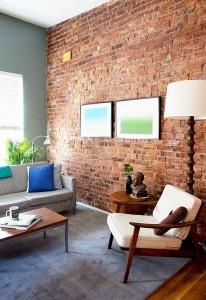 12-living retro clasic perete placat cu caramida
