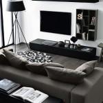 12-mobila moderna neagra in jurul televizorului din living