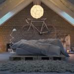 12-model dormitor industrial mansardat cu caramida aparenta si saltea asezata pe paleti din lemn