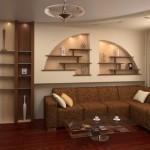 12-nise decorative arcuite in partea superioara pe peretele din spatele canapelei din living