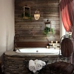 12-panou decorativ imitatie lemn decor baie amenajata in stil rustic