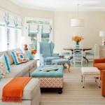 12-pernute in culori complementare albastru si portocaliu model asortare asimetrica