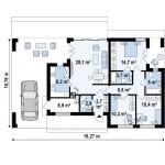 12-plan compartimentare interioara proiect casa mdoerna SL 99 mp cu garaj si terasa inchisa