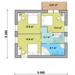 12-plan mansarda 3 dormitoare casa mica proiect nou