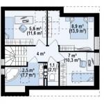 12-plan mansarda casa mica 100 mp cu 4 dormitoare