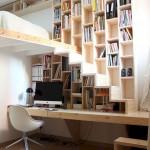 12-scara interioara din lemn compacta design modern integrata in biblioteca