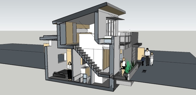 12-schita 3d laterala casa 74 mp cu etaj si garaj inclus