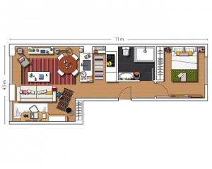 12-schita apartament cu living patrat