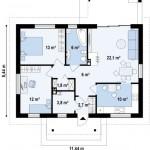 12-schita compartimentare casa fara etaj 77 mp 2 dormitoare