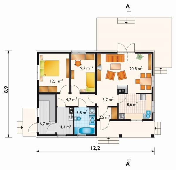 schita compartimentare interioara casa 81 mp