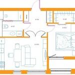 12-schita noii compartimentari a apartamentului cu doua camere