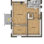12-schita plan 3D apartament modern cu 3 camere 63 mp
