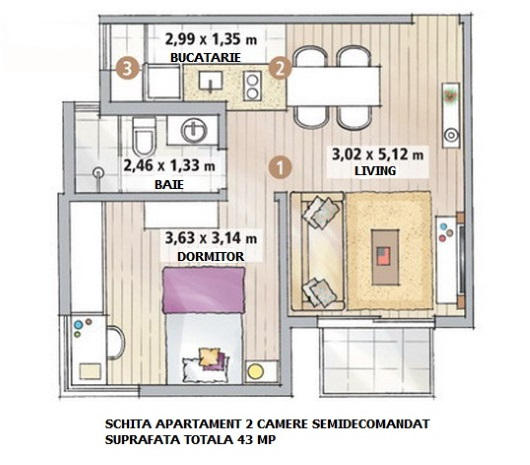 12-schita plan apartament 43 mp doua camere