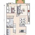 12-schita plan apartament cu 3 camere