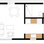 12-schita plan casa mica 37 mp cu dormitor baie bucatarie si living