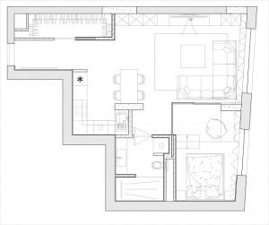 12-schita plan compartimentare apartament semidecomandat cu 2 camere