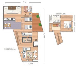 12-schita plan parter si etaj casa moderna minimalista cu trei dormitoare