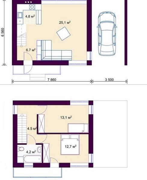 12-schita plant parter si etaj casa mica moderna suprafata totala 50 mp