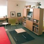 12-separare dormitor de living cu ajutorul unui dulap etajera
